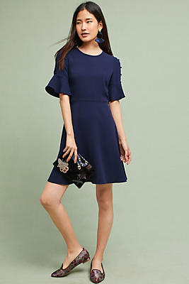 Slide View: 1: Shoshanna Flutter-Sleeve Dress