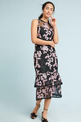 Shoshanna   Shoshanna Dominic Tiered Midi Dress  -    BLACK MOTIF