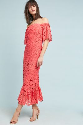 Shoshanna Venetian Off The Shoulder Lace Dress by Shoshanna