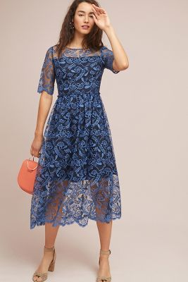 Shoshanna Dandelion Embroidered Midi Dress by Shoshanna