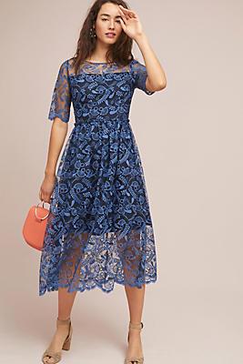 Slide View: 1: Shoshanna Dandelion Embroidered Midi Dress