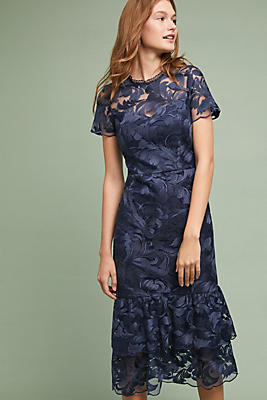 Slide View: 1: Shoshanna Tiered Lace Dress