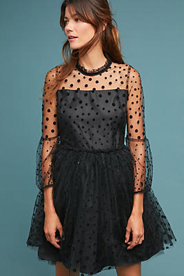Slide View: 1: Shoshanna Velvet Polka Dot Dress