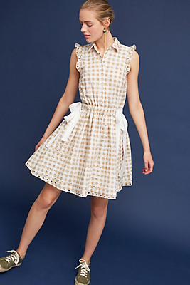 Slide View: 1: Gingham Double-Tie Dress