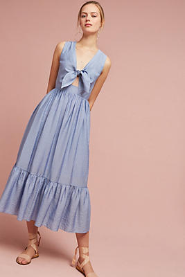 Slide View: 1: Kayla Tie-Front Midi Dress