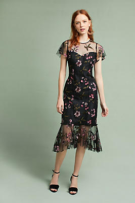 Slide View: 1: Shoshanna Embroidered Flounced-Hem Dress