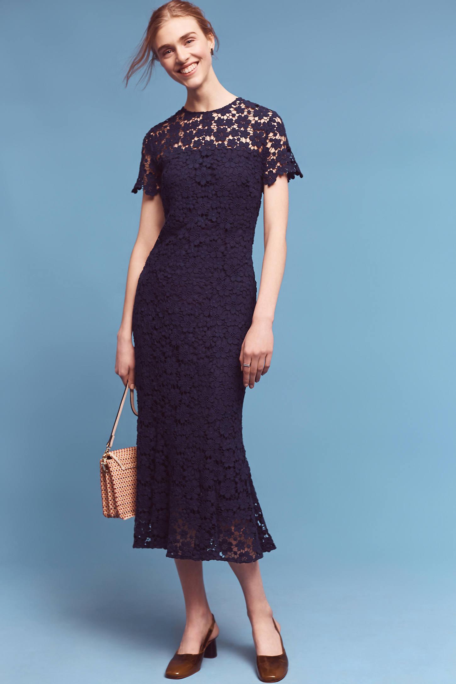 Midnight Lace Midi Dress