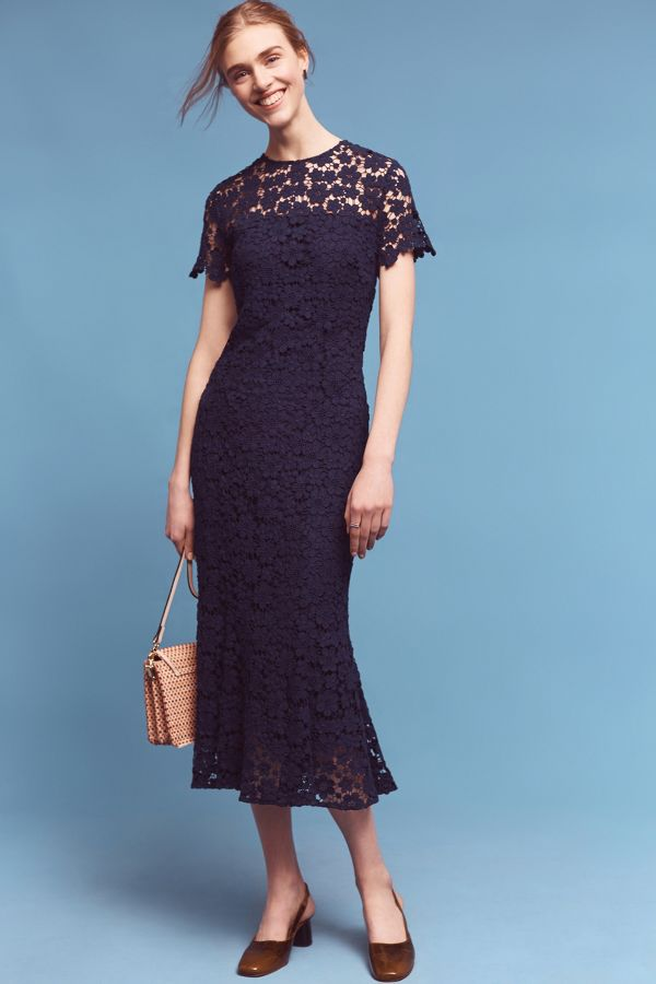 Shoshanna Midnight Lace Midi Dress