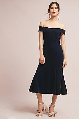Slide View: 1: Velvet Off-The-Shoulder Dress