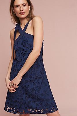 Slide View: 1: Floral Lace Halter Dress