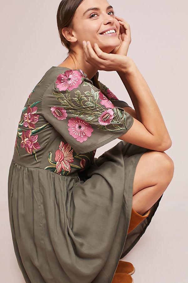 Aika Embroidered Dress - Blue, Size L