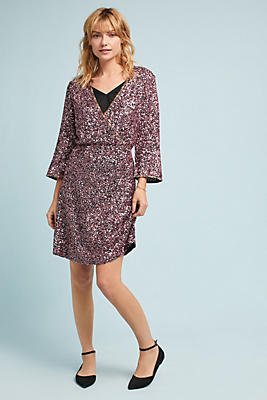 Slide View: 1: Sequined Wrap Dress