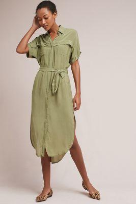 Anthropologie green maxi dress