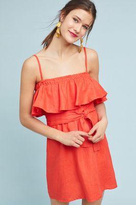 Faithfull   Faithfull Ruffled Linen Dress  -    TANGERINE