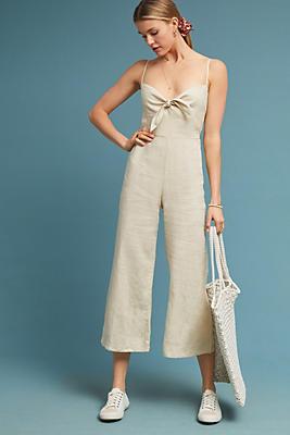 Slide View: 1: Faithfull Cropped Linen Jumpsuit