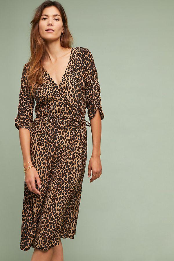 Faithfull Leopard Wrap Dress Anthropologie