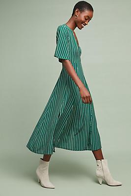 Slide View: 1: Faithfull Paseo Striped Wrap Dress