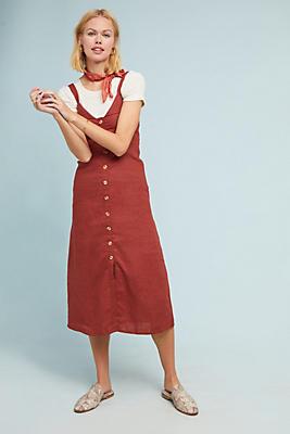 Slide View: 1: Faithful Sangria Linen Shirtdress