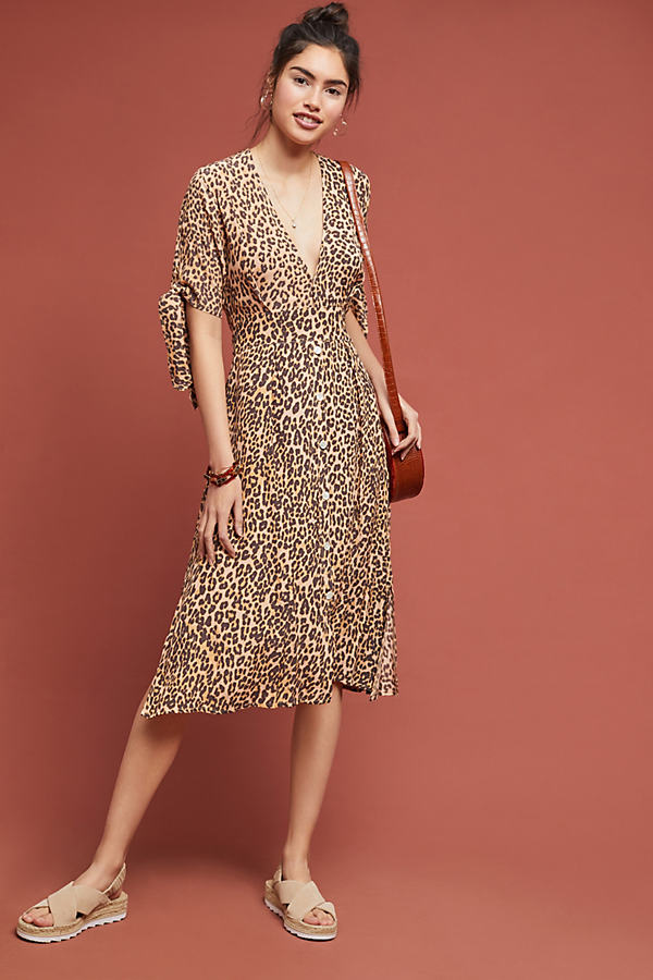 Faithfull Leopard Midi Dress - Assorted, Size M