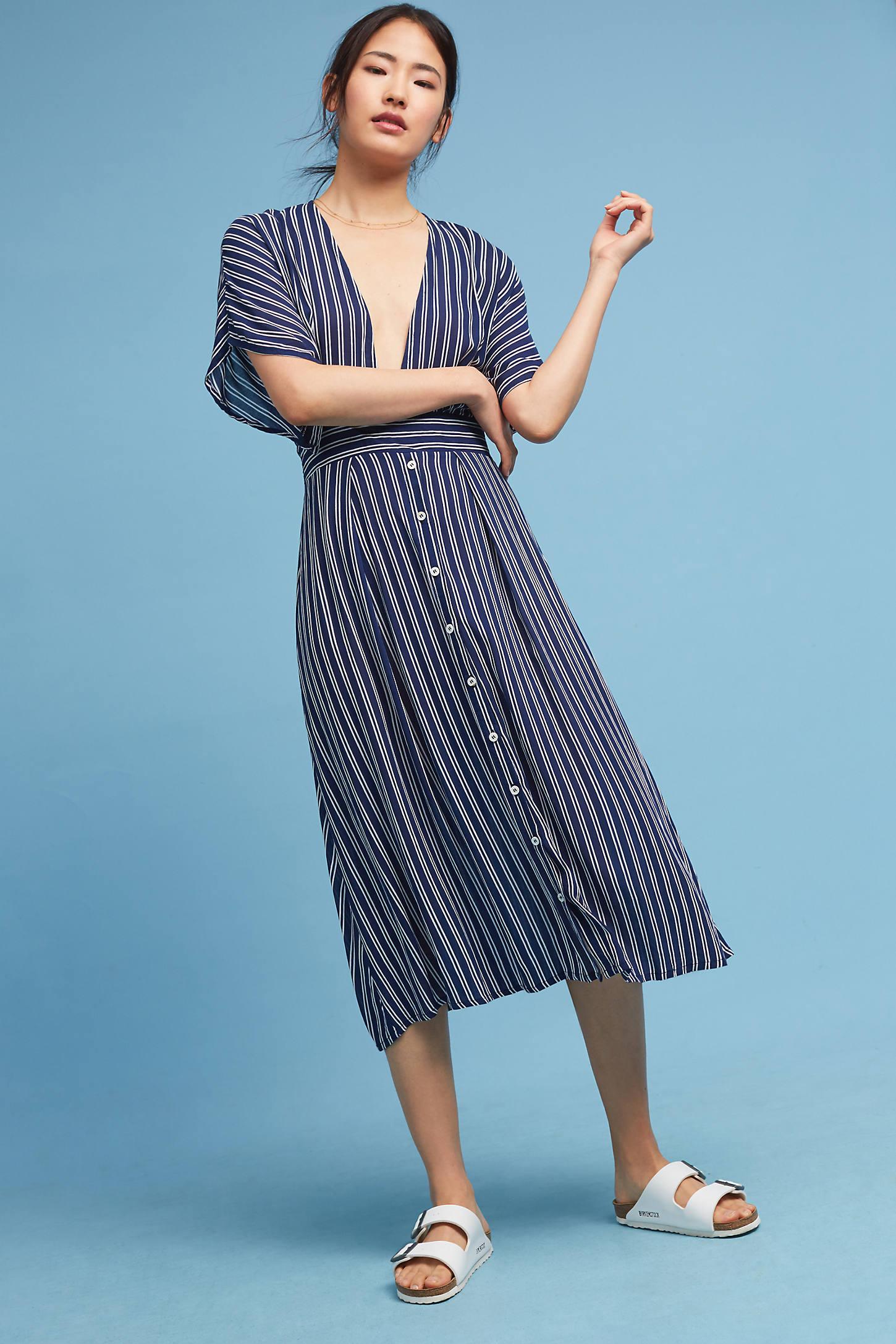 Deep-V Striped Dress