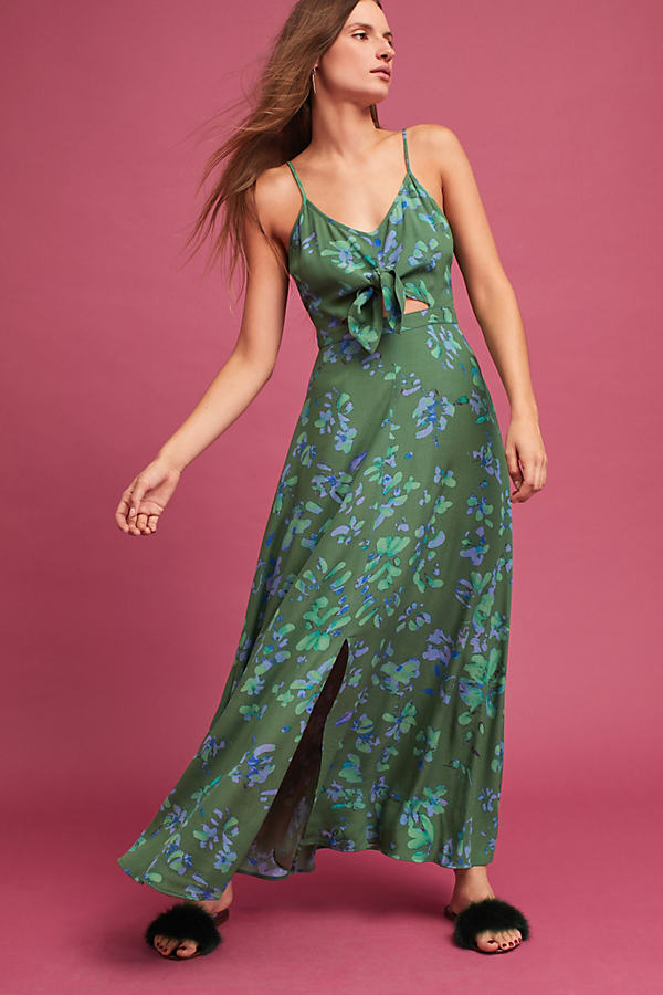 Gaia Floral Ruffled Dress - Green Motif, Size S