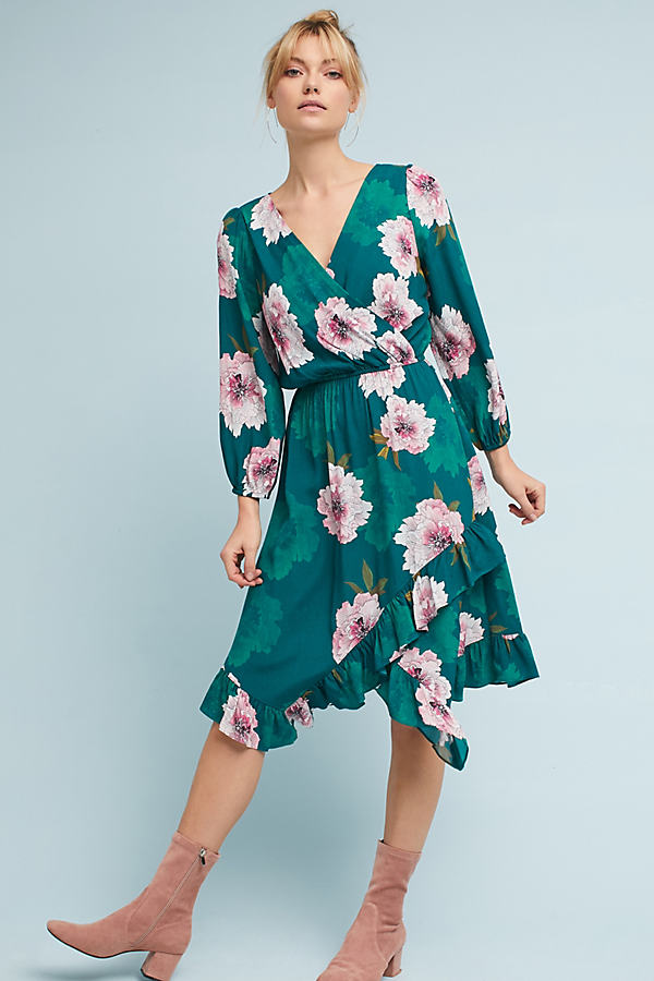 Aleah Floral Dress - Green Motif, Size S Petite