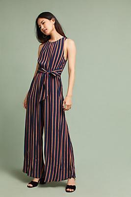 Slide View: 2: Tie-Front Striped Jumpsuit