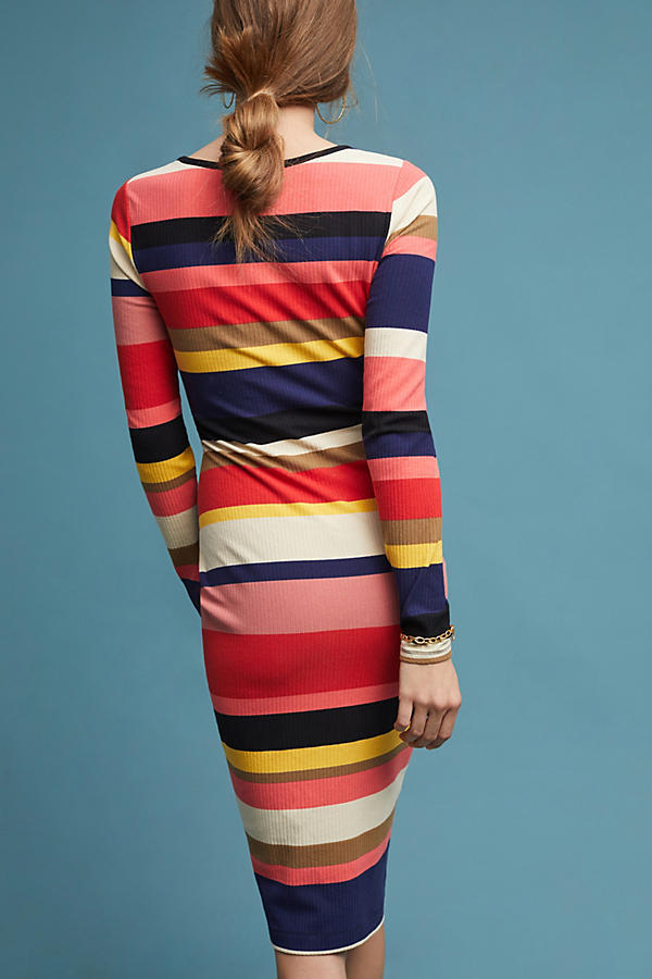 Slide View: 3: Kendall Off-The-Shoulder Striped Tube Dress