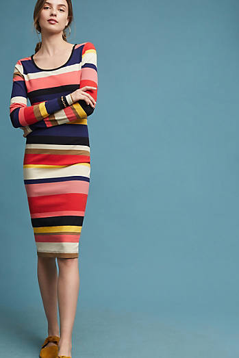 Vivid Stripe Column Dress