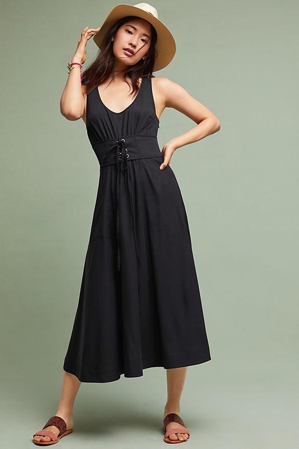 Polly Corseted Midi Dress - Black, Size Uk 6