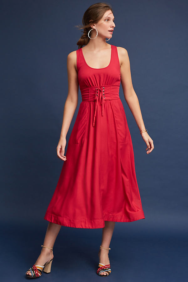 Polly Corseted Midi Dress - Red, Size Uk12