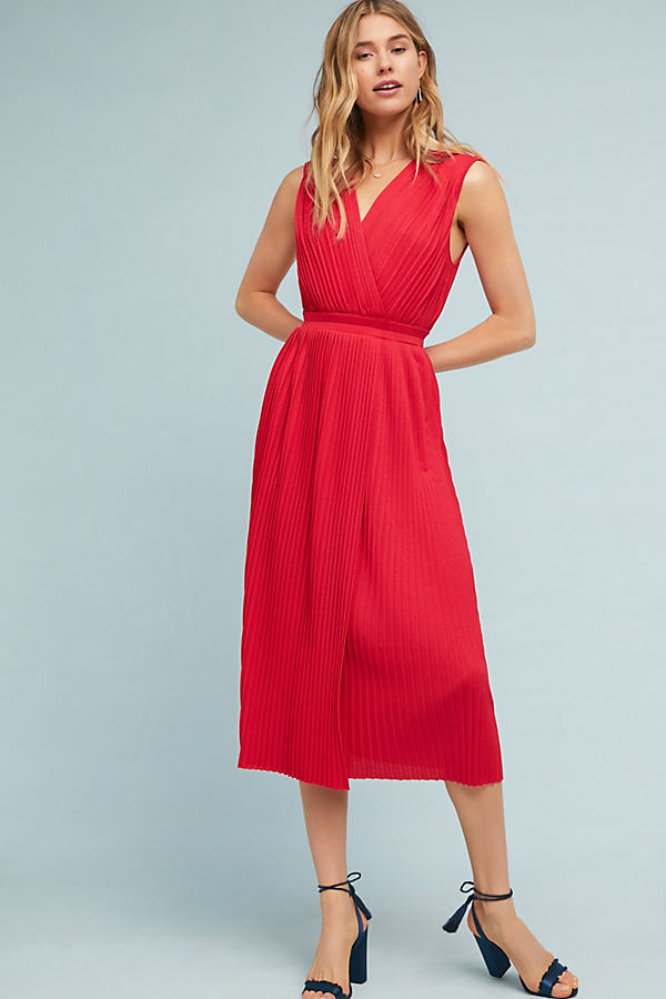 Magdala Pleated Midi Dress - Red, Size M