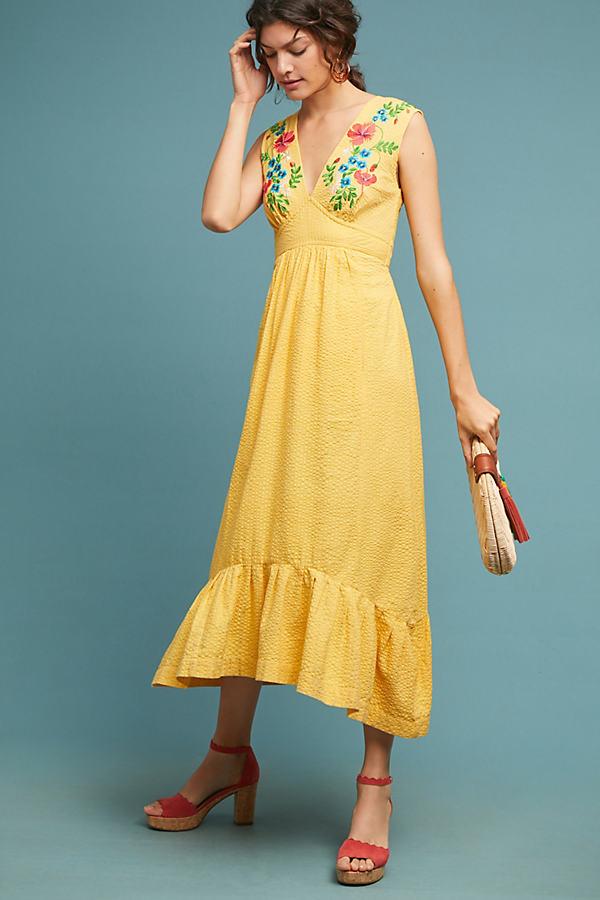Catalina Maxi Dress - Yellow, Size Uk 12