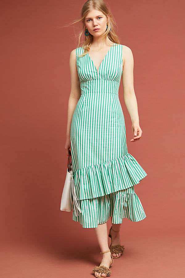 Tracy Reese Gail Striped-Ruffled Maxi Dress - Assorted, Size Uk 12