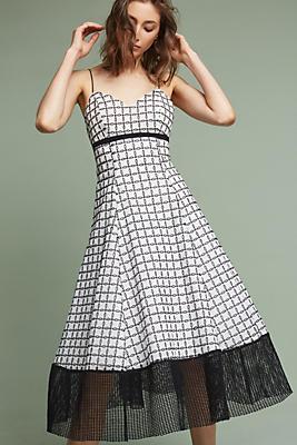Slide View: 1: Liane Flounced Midi Dress