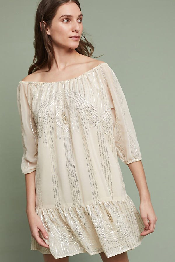 Zuki Beaded Dress, Ivory - Ivory, Size S