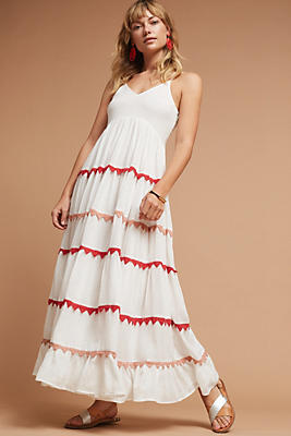 Slide View: 1: Lorenna Embroidered Maxi Dress