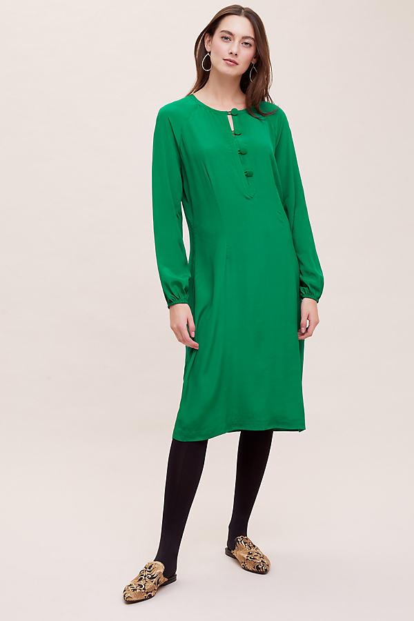 Kachel Salma Silk-Blend Midi Dress - Green, Size Uk 14