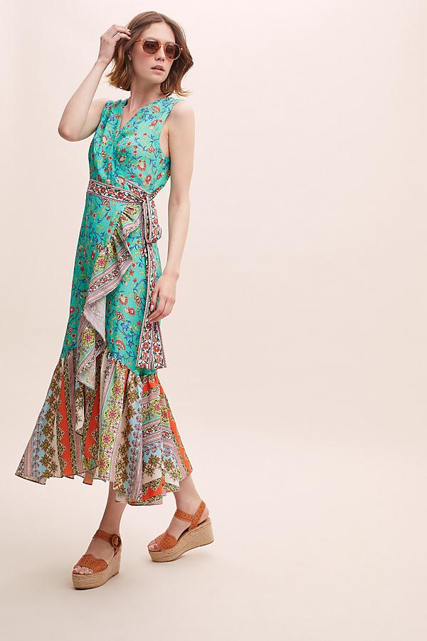 Kachel Mixed Print Wrap Maxi Dress - Assorted, Size Uk 14