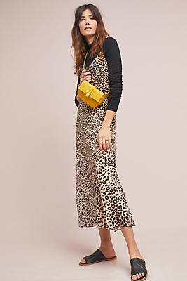 Slide View: 1: Lydia Leopard Silk Slip Dress