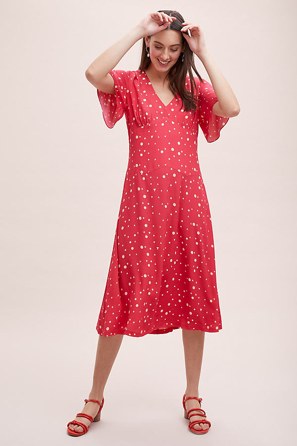 Kachel Betty Spot-Print Midi Dress - Red, Size Uk 10