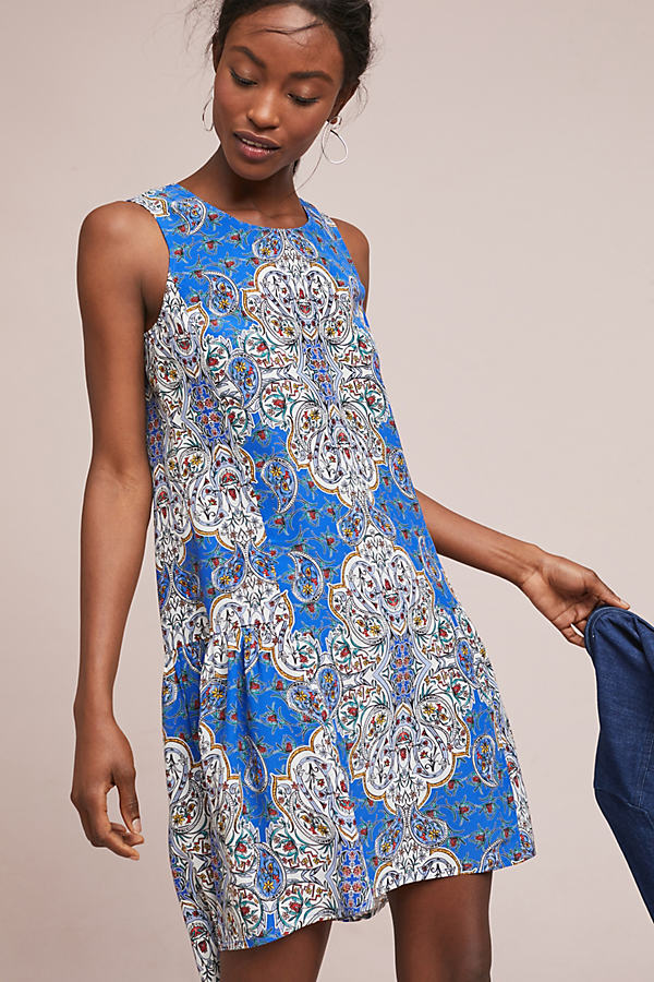 Hedda Printed Silk Dress - Blue, Size Uk 8