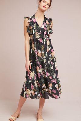 Kachel   Cilla Ruffled Dress  -    BLACK MOTIF