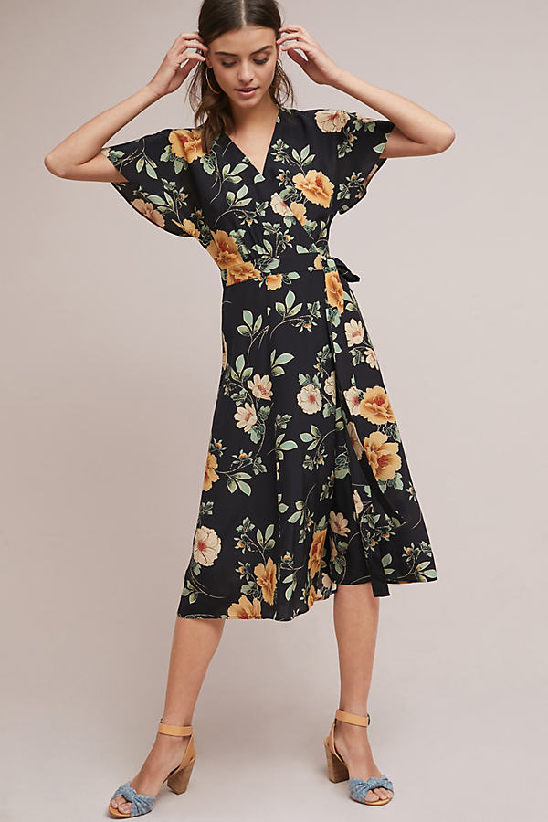 Odessa Silk Floral Midi Wrap Dress - A/s, Size Uk 12
