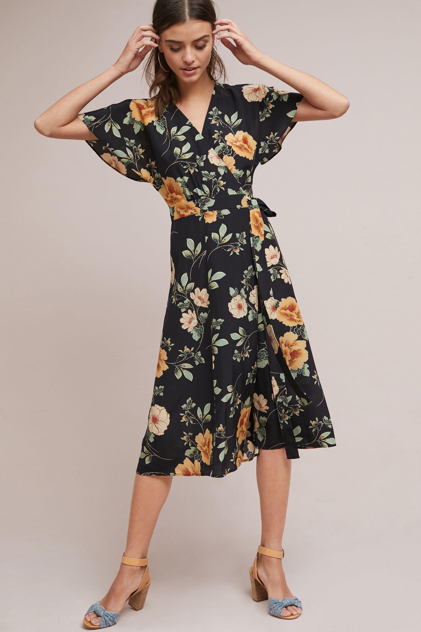 Odessa Silk Floral Midi Wrap Dress Anthropologie Uk