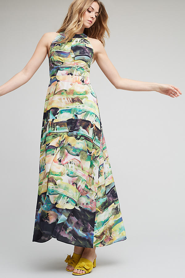Sybal Painterly Silk Maxi Dress - A/s, Size 14