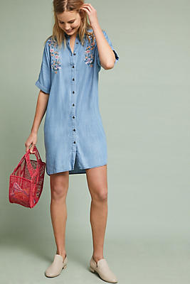 Slide View: 1: Embroidered Chambray Shirtdress