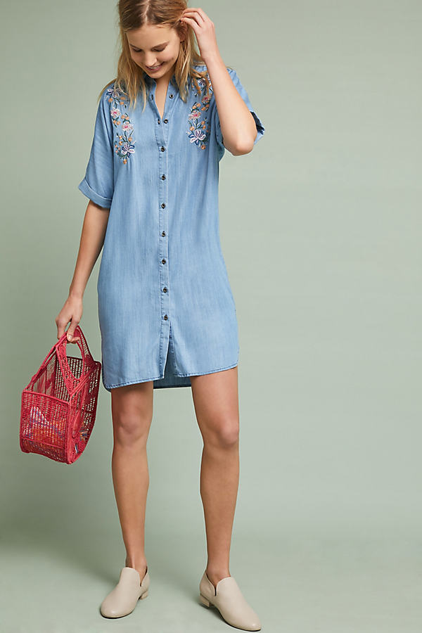 Aada Embroidered Shirtdress - Light Blue, Size Uk 10