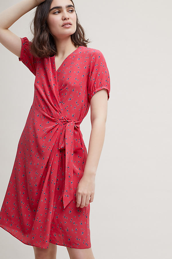 Nova Silk Tea Dress - Red, Size Uk 6