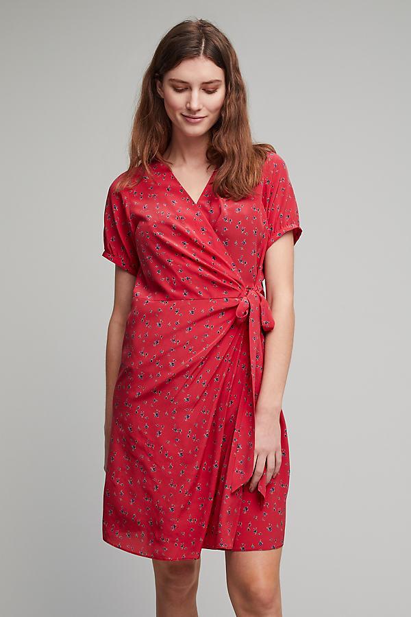 Nova Silk Tea Dress - Red, Size Uk 8